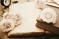 Retro still life with pale rose flowers and open ancient book. Nostalgic composition on old wooden table. Royalty Free Stock Photo