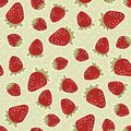 Retro strawberries on polka dots with beige background sweet spring summer fruit seamless pattern Stock Images