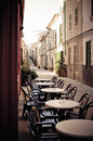 Retro street cafe in a quiet spanish village Stock Photos