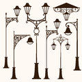 Retro street lamp a set of vintage lamps Royalty Free Stock Photo