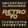 Retro stripe alphabet vector font. Funky oblique type letters, numbers and symbols. Royalty Free Stock Photo