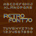 Retro stripe alphabet vector font. Funky type letters and numbers in 70`s style.