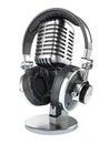 Retro studio microphone and headphones Royalty Free Stock Photo