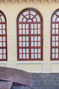 Retro style of architecture building, vintage brown window frame Royalty Free Stock Photo