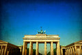 Retro style brandenburg gate brandenburger tor famous landmark in berlin germany rebuilt in the late th century as a neoclassical Stock Image