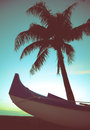 Retro Style Canoe And Palm Tree Royalty Free Stock Photo