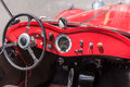 Retro style classic red car interior Royalty Free Stock Photo