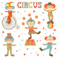 Retro style clowns collection colorful illustration of etro Stock Images