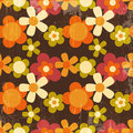Retro style colorful flower seamless pattern wallpaper Royalty Free Stock Images