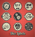 Retro style dice games labels and icons including craps Royalty Free Stock Photos