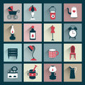 Retro style flat shadows icon vector vintage design old fashioned Royalty Free Stock Photos