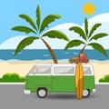 Retro Style Hippie Van