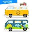 Retro Style Hippie Van Vector