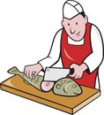 Retro style illustration of a butcher fishmonger sushi chef cutter worker with meat cleaver knife chopping fish facing front on Stock Photography