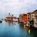 Retro style image of Grand canal at sunset Royalty Free Stock Images