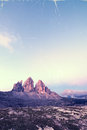 Retro style image of Tre Cime at sunrise Royalty Free Stock Image