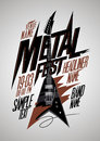 Retro style metal fest poster design with v style electro guitar