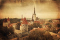 Retro style panoramic view of Tallinn old city center Royalty Free Stock Images