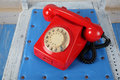 Retro style: Phones - Red retro telephone Royalty Free Stock Photo