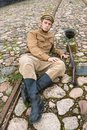 Retro style picture with resting soldier. Royalty Free Stock Images