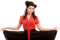 Retro style. Pin-up Girl in red. Vintage young woman isolated Royalty Free Stock Image
