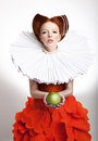 Retro style portrait of styled redhead woman duchess in vintage frill old fashioned female posing Stock Photos