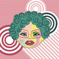 Retro style portrait of a young woman vector illustration Royalty Free Stock Photo