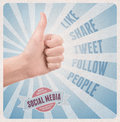 Retro style poster with hand showing thumb up gesture surrounded with keywords on social media theme Royalty Free Stock Photography