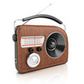 Retro style radio on white background d rendering illustration Royalty Free Stock Photo