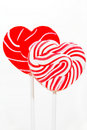 Retro style red , pink heart shape lollipop Royalty Free Stock Photos