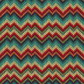 Retro style seamless knitted pattern blue green yellow orange red color vector illustration Royalty Free Stock Images