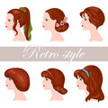 Retro style six girls with chestnut hair Stock Photography