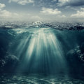 Retro style underwater landscape Royalty Free Stock Photo