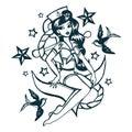 Hand Drawn Vintage Tattoo Ink Sailor Girl Royalty Free Stock Photo