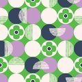 Retro Vector Seamless Pattern with Textured Circles and Abstract Flowers on Green Background. Fresh Geometric Florals