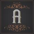 Retro style. Western letter design. Letter A