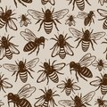 Retro styled honey bee seamless pattern or background