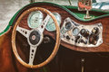 Retro styled image of the dashboard of a mg td roadster drempt netherlands february in drempt netherlands Royalty Free Stock Images