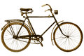 Retro styled image of a nineteenth century bicycle isolated on white background Stock Photos