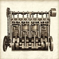 Retro styled image of an old classic car engine a partly cutaway Royalty Free Stock Image