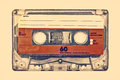 Retro styled image of an old compact cassette with empty label Stock Photo