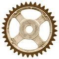 Retro styled image of an old gear wheel isolated on white a background Stock Photography