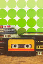 Retro styled image of vintage audio compact cassettes Royalty Free Stock Photo