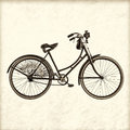 Retro styled image of a vintage lady bicycle early twentieth century dutch with lantern Royalty Free Stock Photography