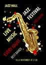 Retro styled Jazz festival Poster. Abstract style vector illustration. Royalty Free Stock Photo