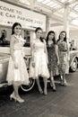 Retro styled models on Vintage Car Parade