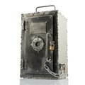Retro styled safe box with locks brutal multiple on white Stock Image