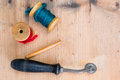 Retro styled sewing things Royalty Free Stock Photo