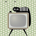 Retro-styled television receiver with cat Royalty Free Stock Images