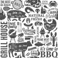 Retro styled typographic vector barbecue seamless pattern or background Royalty Free Stock Photo